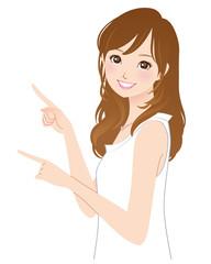 指をさす若い女性 おすすめポーズ
