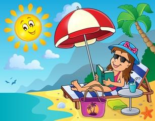Girl on sunlounger image 2