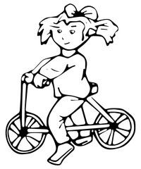 Meisje op loopfiets