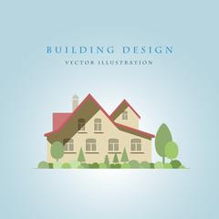 Flat house illustration