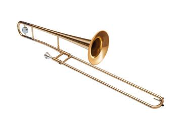 golden brass tenor trombone isolated on white background Wall mural
