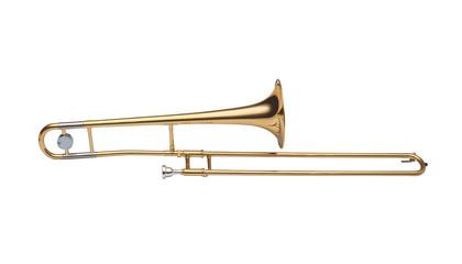 golden brass tenor trombone isolated on white background