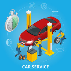 Car repair service center. Tire service flat set with shop car repair mechanics. Flat 3d isometric vector illustration.