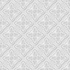 Seamless white geometric pattern, east ornament, indian pattern, persian motif, white background, 3D, vector. Endless texture can be used for wallpaper, pattern fills, web page background.