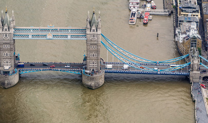 Aerial view of Tower Bridge from helicopter, London