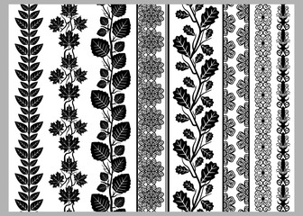 Indian Henna Border decoration elements patterns in black and white colors.  Lace borders, vertical vector seamless lace patterns, natural pattern, flower pattern, vector illustration.