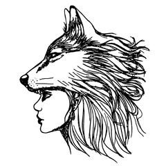 Эскиз татуировки профиль девушки и волк