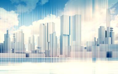 Cityscape skyline, dramatic sky, wire frame 3d