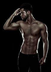 attractive fitness man, trained male body, lifestyle portrait, c