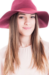Portrait of young smiling charming woman in trendy outfit