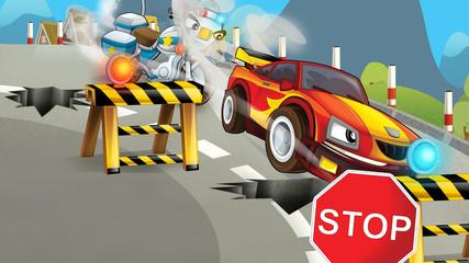 Cartoon scene of police pursuit - pursuit on damaged street - illustration for children