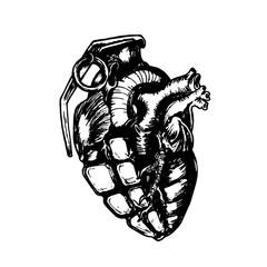 Эскиз татуировки, граната сердце