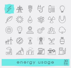 Set of line energy icons. Various energy sources. Various kinds of energies for use in industry and everyday life. Solar energy, bio alternative, fuel, electricity, nuclear, wind power, gas.
