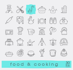 Set of premium quality food and cooking icons. Cooking and preparing meals. Various kitchen items. Vector illustration.