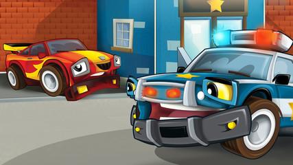 Cartoon scene of police pursuit - car caught - illustration for children