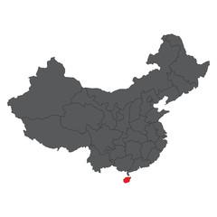 Hainan red map on gray China map vector