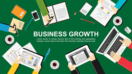 Business growth concept illustration. Flat design. Teamwork, meeting, analyze, and planning concept.