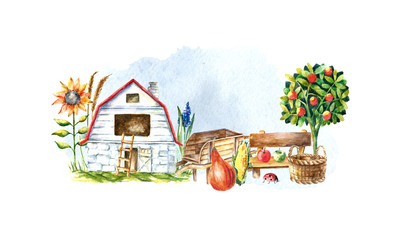 Watercolor organic farm.