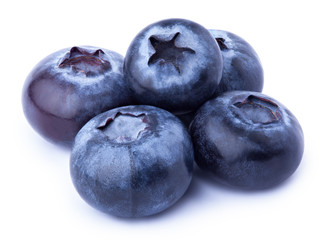 Group of five perfectly retouched blueberries isolated on white with clipping path