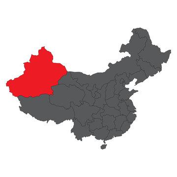 Xinjiang red map on gray China map vector