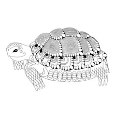 Totem animal. Drawing zentangle turtle for coloring page, shirt design effect, logo, tattoo and decoration.  Isolated background.