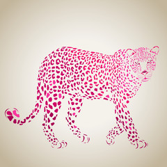 Vector leopard silhouette, abstract animal illustration. Leopard, big cat can be used for background, card, print materials