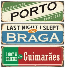 Vintage vector souvenir sign or postcard templates with Portugal cities