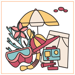 Vacation doodles set