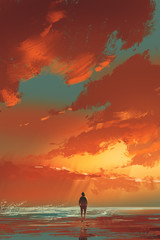 lonely man standing on the sea under sunset sky,illustration painting