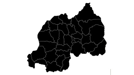 Rwanda country map detailed visualisation in black