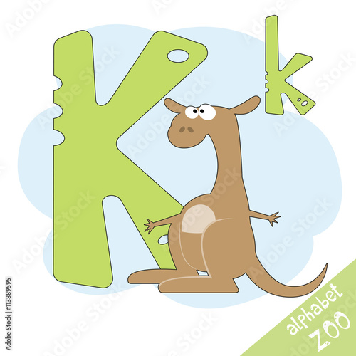 Hand Drawn Letter K And Funny Cute Kangaroo Children S Alphabet In