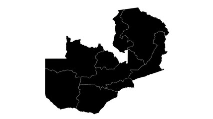 Zambia country map detailed visualisation