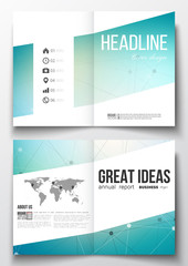 Set of business templates for brochure, magazine, flyer, booklet or annual report. Molecular construction with connected lines and dots, scientific design pattern on gray background