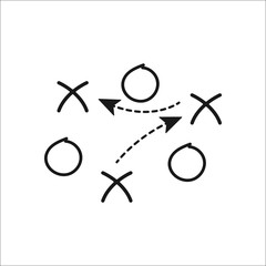 Sport soccer football tactics strategy sign simple icon on background