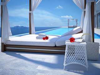 luxury swimming pool with hibiscus flower. 3d rendering