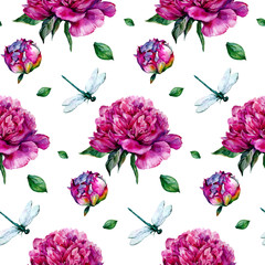Hand drawn watercolor peonies pattern