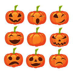 Vector set of isolated pumpkin icons. Halloween design, emotion, laughing, angry, smiling, sad, scary, evil, winking smile. Jack lantern for website, flier, invitation card