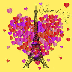 Card with text Take me to Paris on a yellow background. Eiffel T