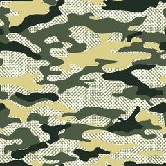 military camo background. Seamless vector pattern