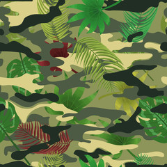 Military camo tropical leaves seamless pattern background
