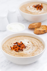cream soup with carrots and croutons, vertical