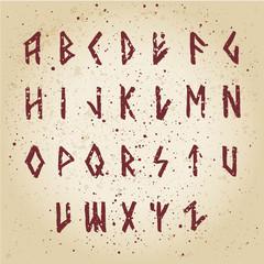 Modern vector runic style alphabet.