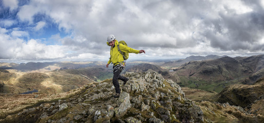 England, Cumbria, Lake District, Langdale, Harrison Stickle, climber