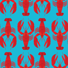 Lobsters colorful vector pattern on blue background