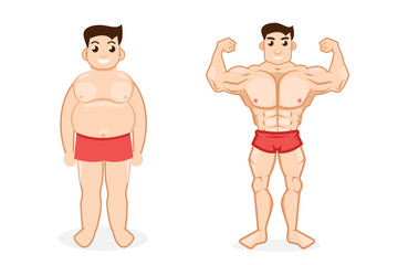 man before and after fitness