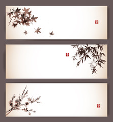 Three banners with maple, bamboo and sakura. Traditional Japanese ink painting sumi-e. Contains hieroglyph - happiness.