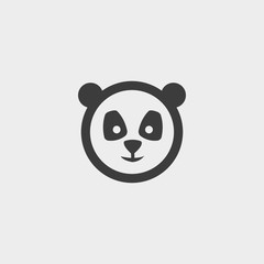 panda Icon in a flat design in black color. Vector illustration eps10