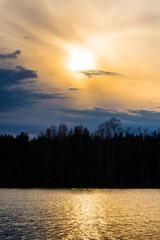 Sunny spring evening lake landscape