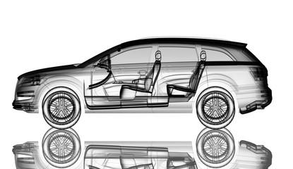 3d car model render