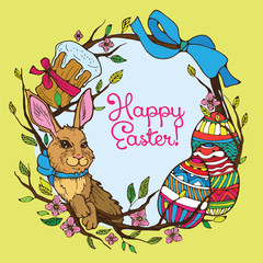 Cake, rabbit and eggs - easter vector hand drawn colorful collage.